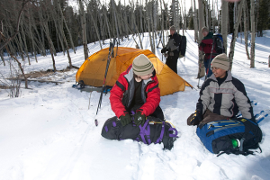 Scouts camping in winter